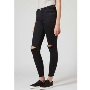Topshop Moto Busted Knee High Waisted Skinny Jeans